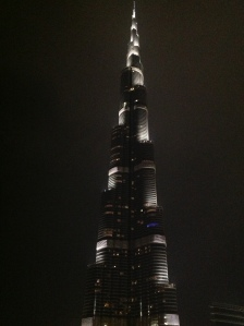 The world's tallest building, as seen from the ground at Dubai Mall.